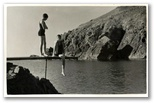 The public diving board on the Todden at Cadgwith, with Rosemary and Bing Hannington, mid 1930s