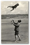 Ithiel Hannington won a prize in the Daily Mail Snapshot Contest with this photograph of Robert throwing Rosemary into the air on the beach at Perranporth